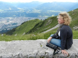 This was several years ago on a trip with my sister, sister in law and niece. We rode the cable car half way up the mountain overlooking Innsbruck below.