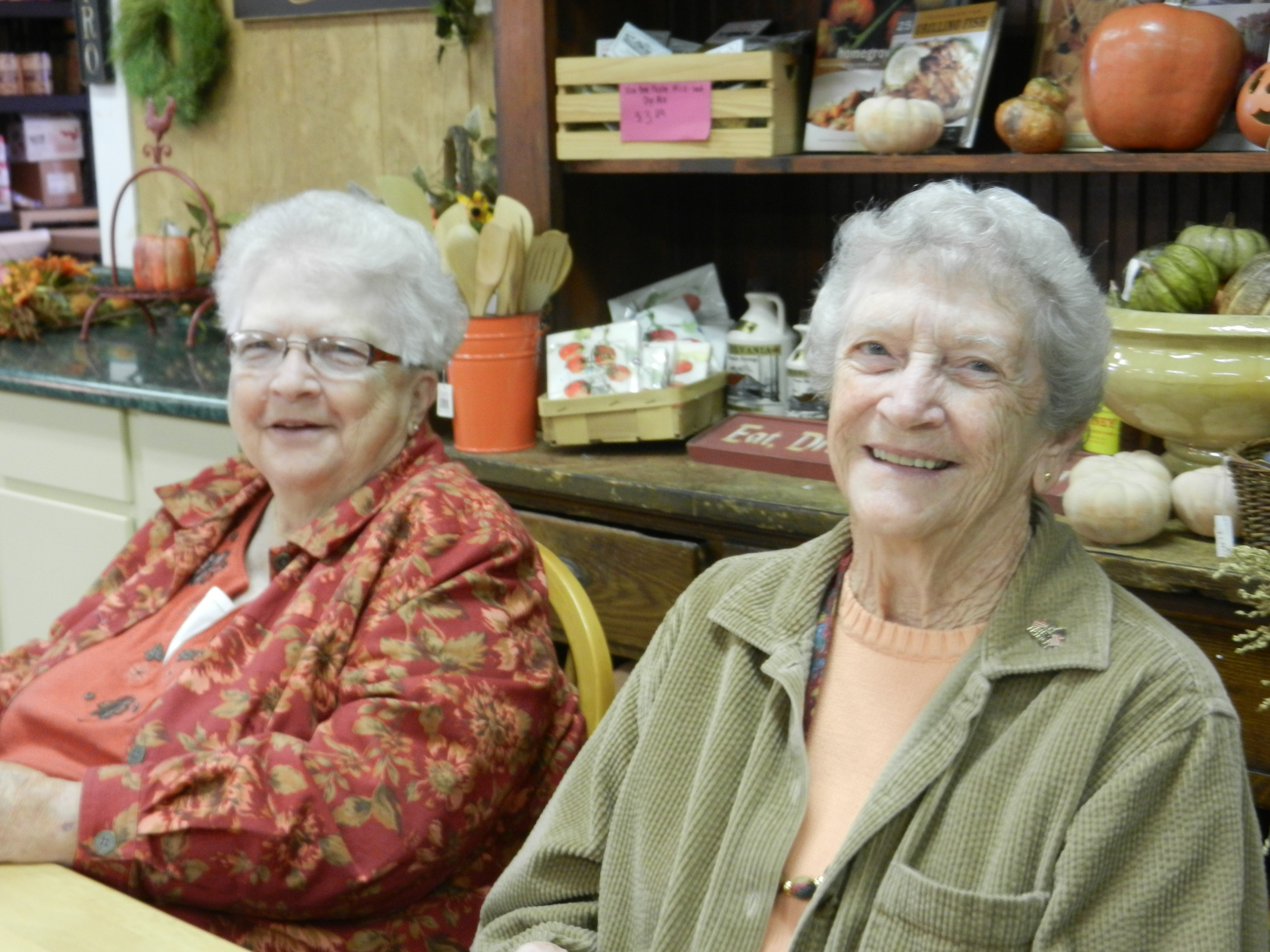 Mom and her sister, Aunt Dorie at the market - summer 2012.