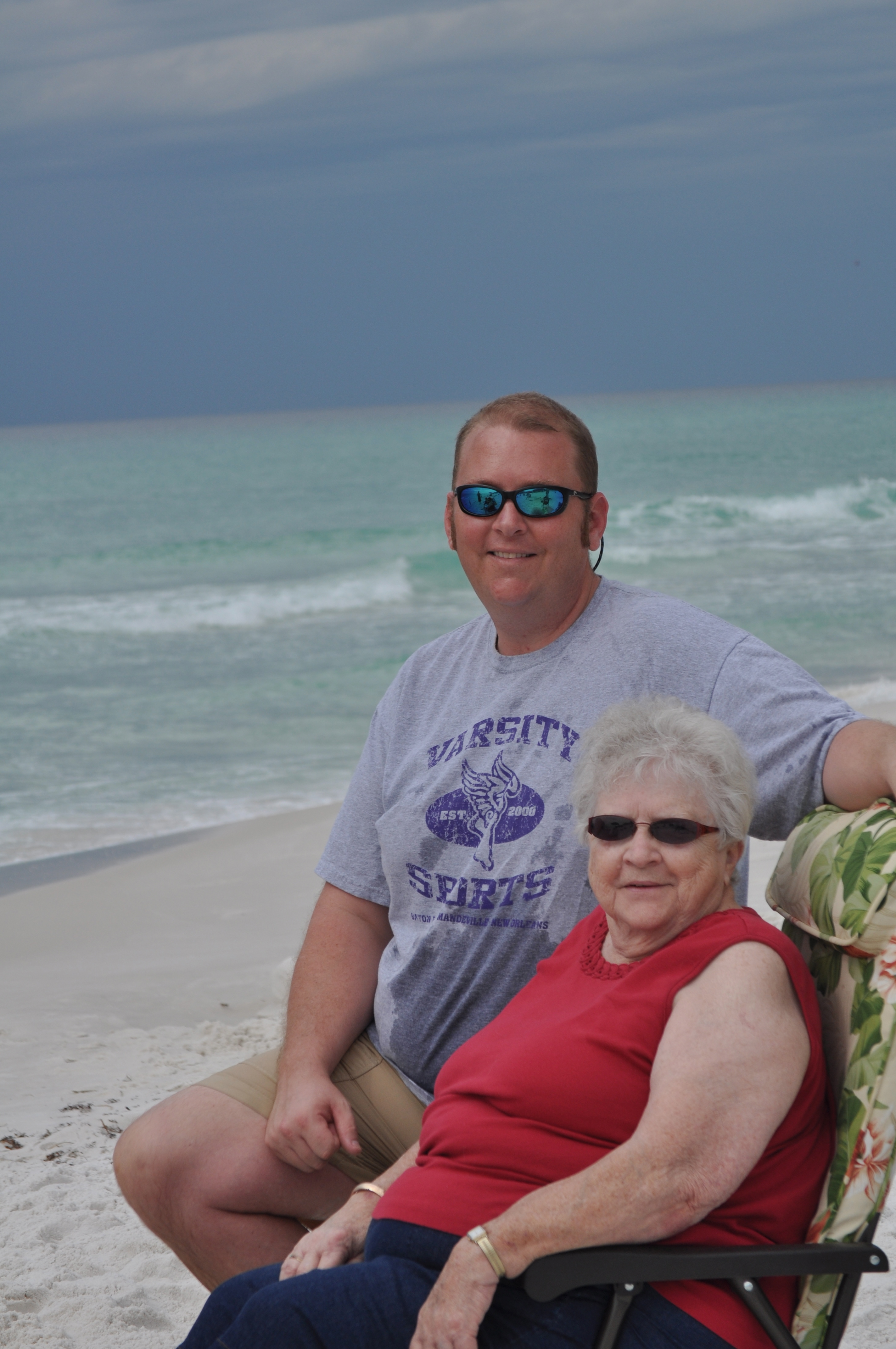 Richard and Mom on the beach in Destin.  March 2012