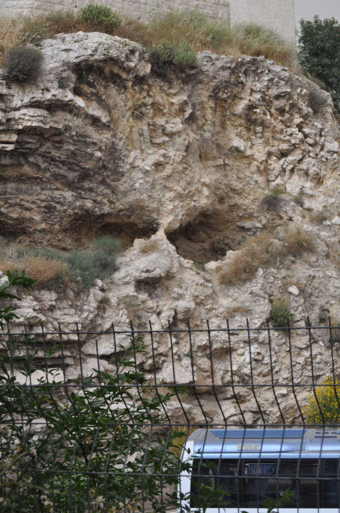 What is believed to be the remains of the formation that was the reason this was called Golgotha or skull hill. It now sits above a bus depot.