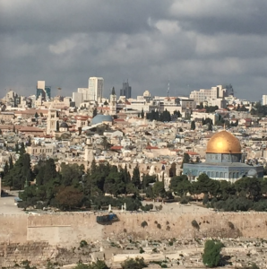 A modern day view of the city of Jerusalem from the Mount of Olives.