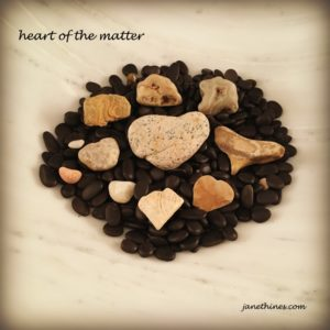 A pile of black stones, an Alabama marble bowl, random stones and hearts from around the country - from Montana to Mississippi.