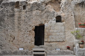 I took this picture just outside the walls of Jerusalem at the site believed to have been the actual tomb where Jesus body was laid.
